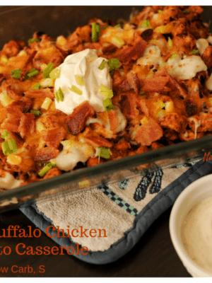 Loaded Buffalo Chicken No-Tato Casserole