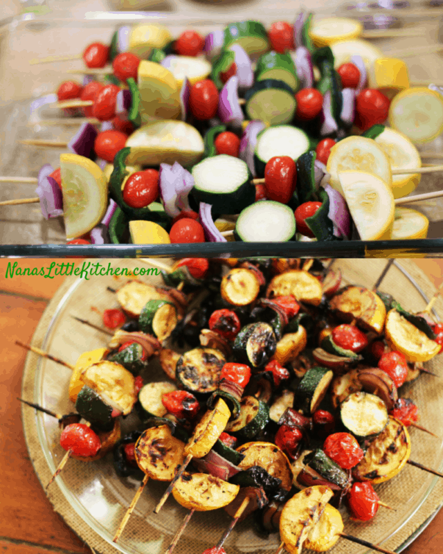 Teriyaki Kabobs - Veggie Raw and Cooked