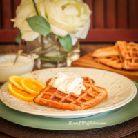 Sprouted Wheat Gingerbread Waffles With Orange Yogurt